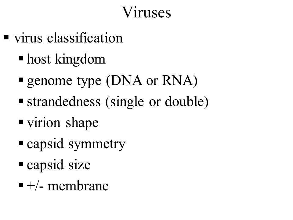 Viruses  virus classification  host kingdom  genome type (DNA or RNA)  strandedness (single or double)  virion shape  capsid symmetry  capsid size  +/- membrane