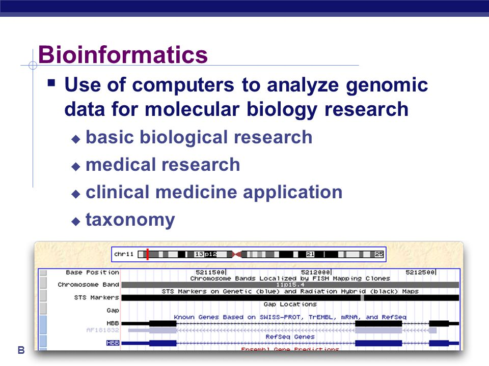 Bioinformatics Bioinformatics  Use of computers to analyze genomic data for molecular biology research  basic biological research  medical research  clinical medicine application  taxonomy