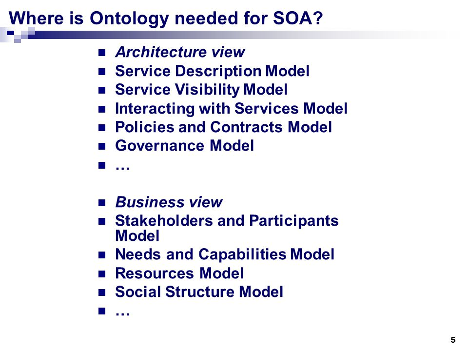 5 Where is Ontology needed for SOA.