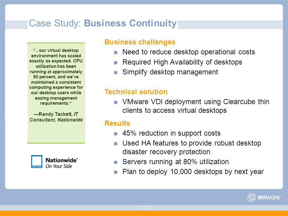 18 Business challenges Need to reduce desktop operational costs Required High Availability of desktops Simplify desktop management Technical solution VMware VDI deployment using Clearcube thin clients to access virtual desktops Results 45% reduction in support costs Used HA features to provide robust desktop disaster recovery protection Servers running at 80% utilization Plan to deploy 10,000 desktops by next year Case Study: Business Continuity ..