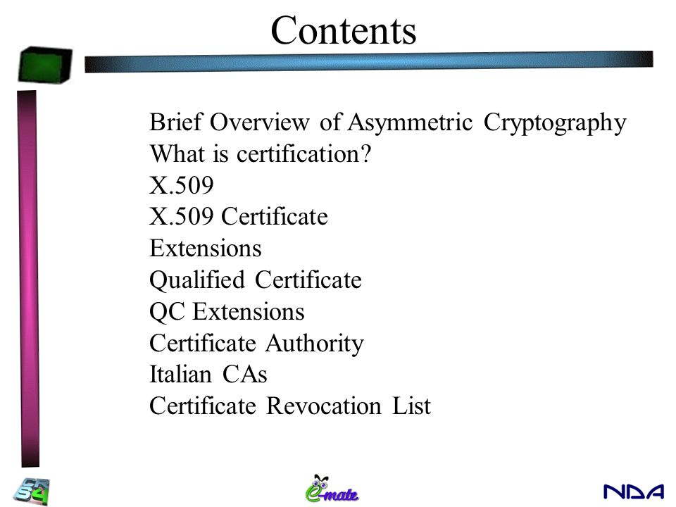 Certification Andrea Piras Contents Brief Overview of Asymmetric ...