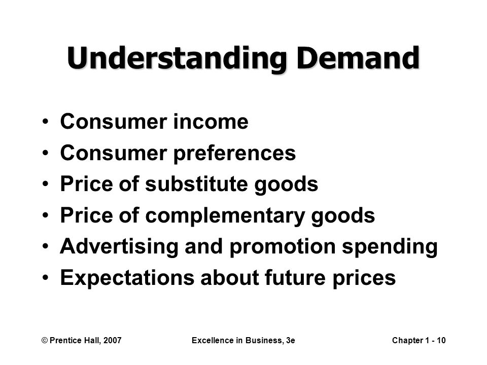 © Prentice Hall, 2007Excellence in Business, 3eChapter Understanding Demand Consumer income Consumer preferences Price of substitute goods Price of complementary goods Advertising and promotion spending Expectations about future prices