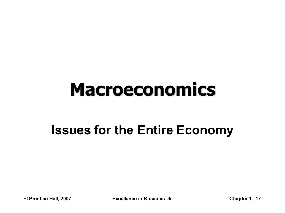 © Prentice Hall, 2007Excellence in Business, 3eChapter Macroeconomics Issues for the Entire Economy
