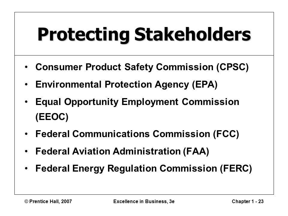 © Prentice Hall, 2007Excellence in Business, 3eChapter Protecting Stakeholders Consumer Product Safety Commission (CPSC) Environmental Protection Agency (EPA) Equal Opportunity Employment Commission (EEOC) Federal Communications Commission (FCC) Federal Aviation Administration (FAA) Federal Energy Regulation Commission (FERC)