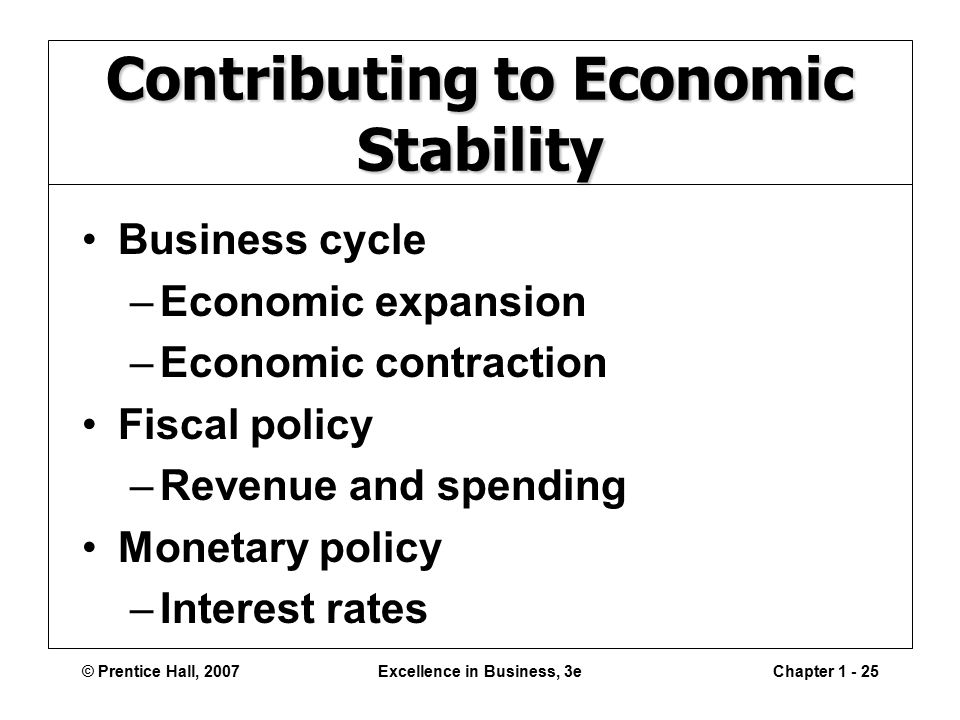 © Prentice Hall, 2007Excellence in Business, 3eChapter Contributing to Economic Stability Business cycle –Economic expansion –Economic contraction Fiscal policy –Revenue and spending Monetary policy –Interest rates