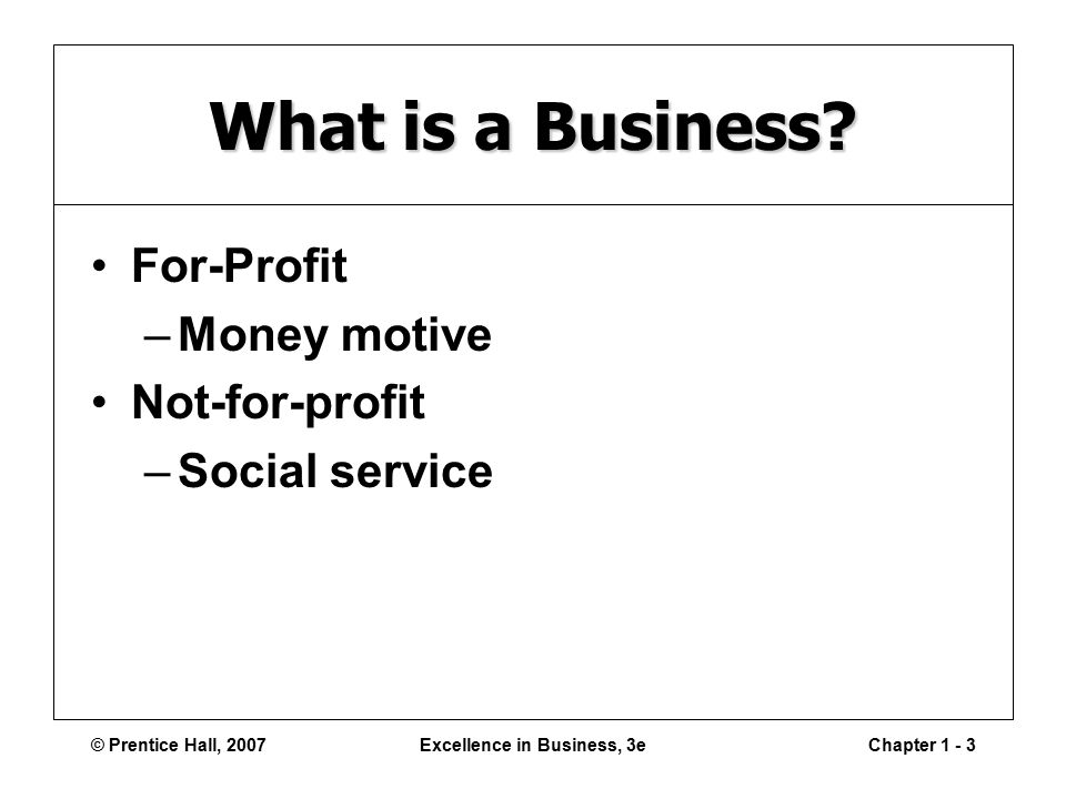 © Prentice Hall, 2007Excellence in Business, 3eChapter What is a Business.