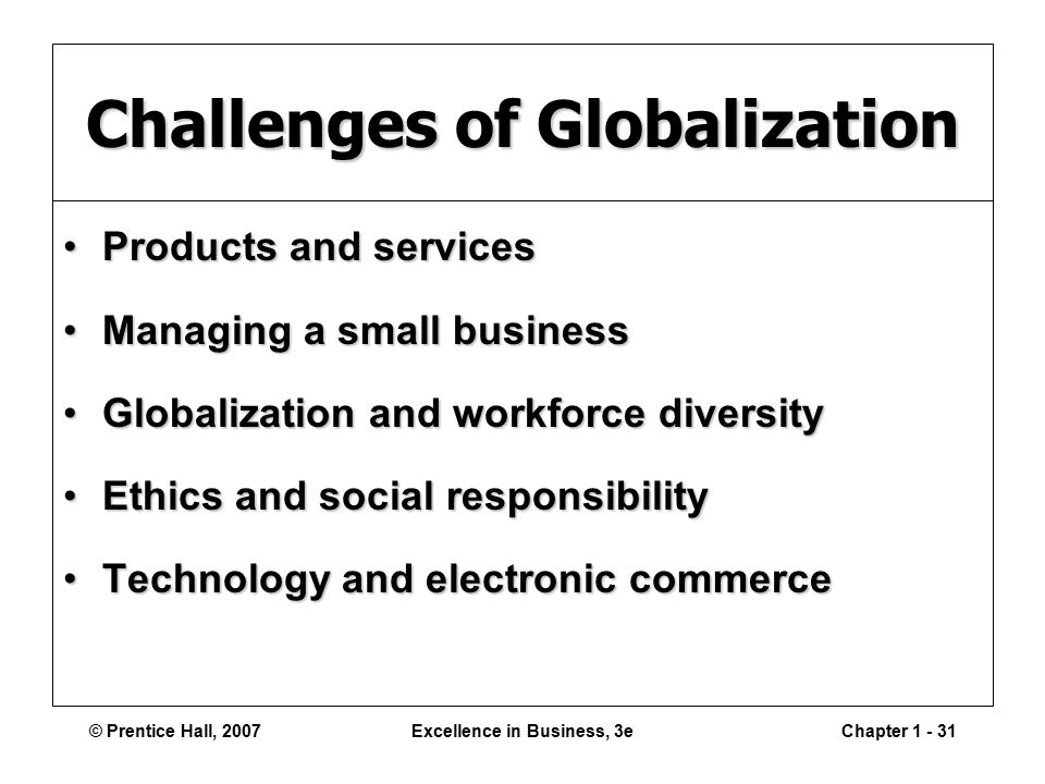 © Prentice Hall, 2007Excellence in Business, 3eChapter Challenges of Globalization Products and servicesProducts and services Managing a small businessManaging a small business Globalization and workforce diversityGlobalization and workforce diversity Ethics and social responsibilityEthics and social responsibility Technology and electronic commerceTechnology and electronic commerce