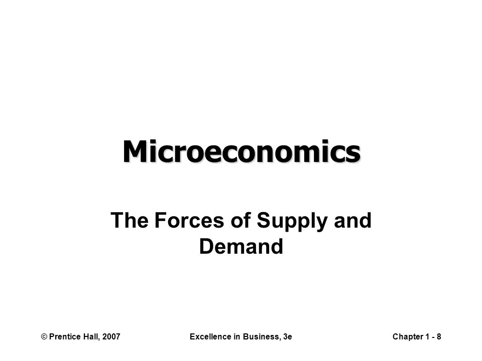 © Prentice Hall, 2007Excellence in Business, 3eChapter Microeconomics The Forces of Supply and Demand