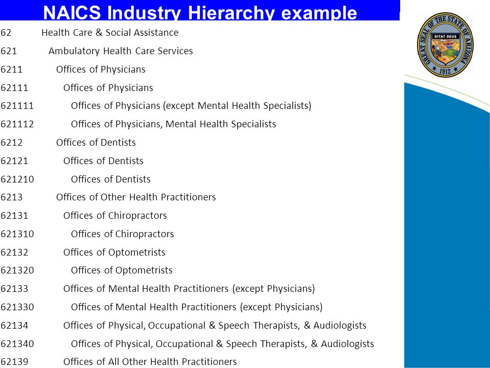 SOC Occupational Hierarchy example Healthcare Support Occupations Nursing, Psychiatric, & Home Health Aides Home Health Aides Nursing Aides, Orderlies, & Attendants Psychiatric Aides Occupational & Physical Therapist Assistants & Aides Occupational Therapist Assistants Occupational Therapist Aides Physical Therapist Assistants Physical Therapist Aides Other Healthcare Support Occupations Massage Therapists Dental Assistants Medical Assistants Medical Equipment Preparers Medical Transcriptionists Pharmacy Aides Veterinary Assistants & Laboratory Animal Caretakers Healthcare Support Workers, All Other