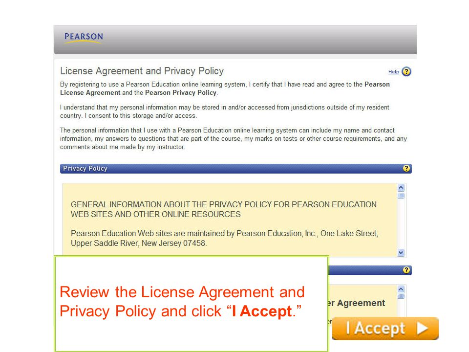 Review the License Agreement and Privacy Policy and click I Accept.