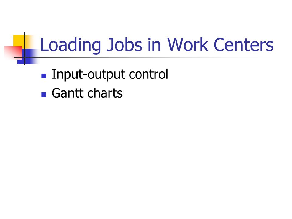 Loading Jobs in Work Centers Input-output control Gantt charts