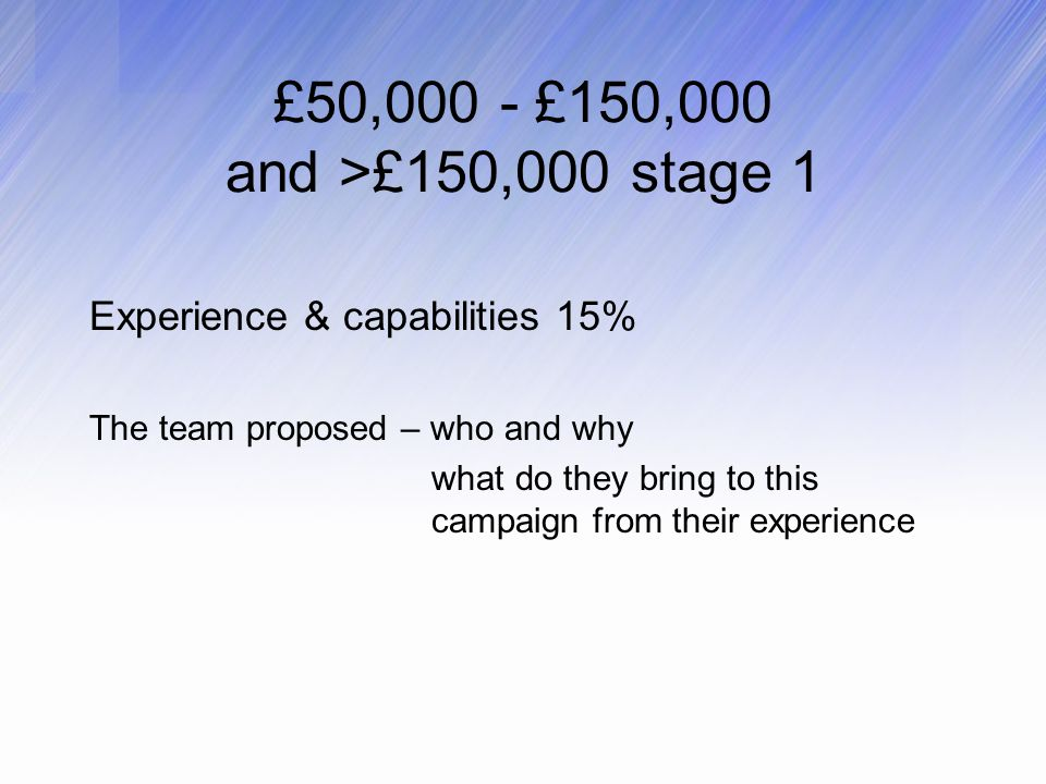 £50,000 - £150,000 and >£150,000 stage 1 Experience & capabilities 15% The team proposed – who and why what do they bring to this campaign from their experience
