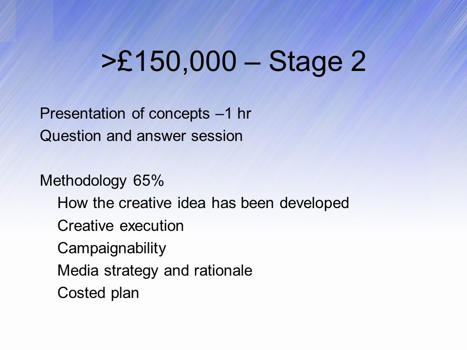 >£150,000 – Stage 2 Presentation of concepts –1 hr Question and answer session Methodology 65% How the creative idea has been developed Creative execution Campaignability Media strategy and rationale Costed plan