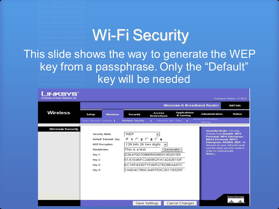 Wi-Fi Security This slide shows the way to generate the WEP key from a passphrase.