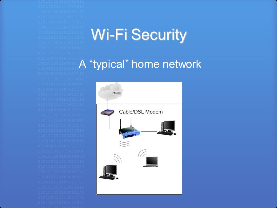 Wi-Fi Security A typical home network