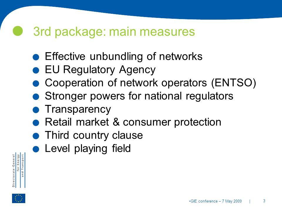 | 3 GIE conference – 7 May rd package: main measures.