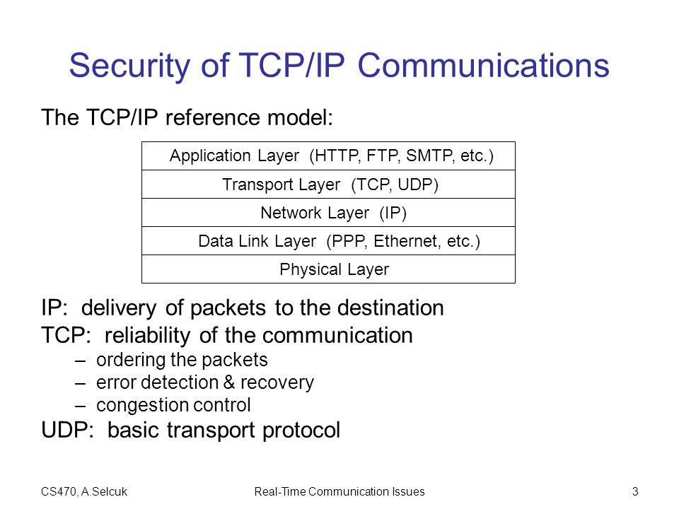 CS470, A.SelcukReal-Time Communication Issues3 Security of TCP/IP Communications The TCP/IP reference model: IP: delivery of packets to the destination TCP: reliability of the communication –ordering the packets –error detection & recovery –congestion control UDP: basic transport protocol Application Layer (HTTP, FTP, SMTP, etc.) Transport Layer (TCP, UDP) Network Layer (IP) Data Link Layer (PPP, Ethernet, etc.) Physical Layer