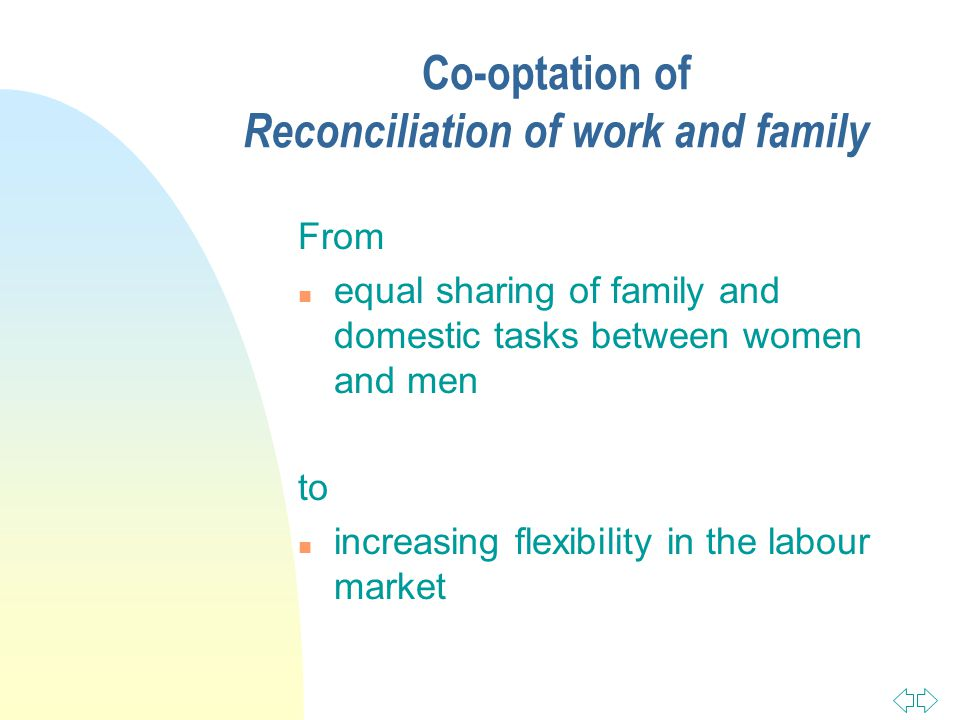 Co-optation of Reconciliation of work and family From n equal sharing of family and domestic tasks between women and men to n increasing flexibility in the labour market