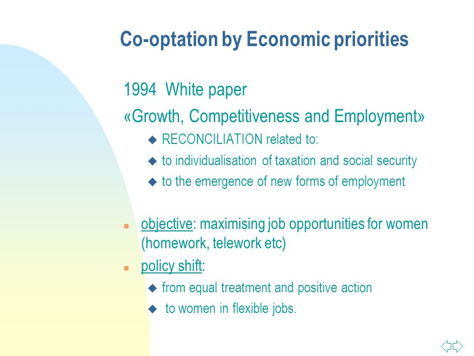 Co-optation by Economic priorities 1994 White paper «Growth, Competitiveness and Employment» u RECONCILIATION related to: u to individualisation of taxation and social security u to the emergence of new forms of employment n objective: maximising job opportunities for women (homework, telework etc) n policy shift: u from equal treatment and positive action u to women in flexible jobs.
