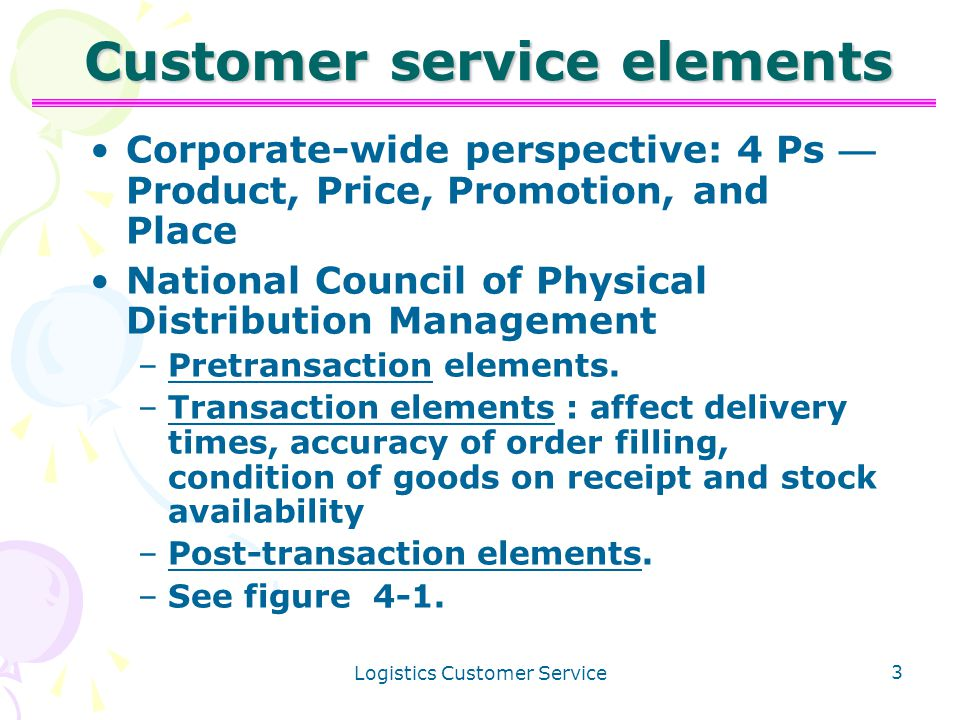 Logistics Customer Service 1 Chapter 4 Learning Objectives