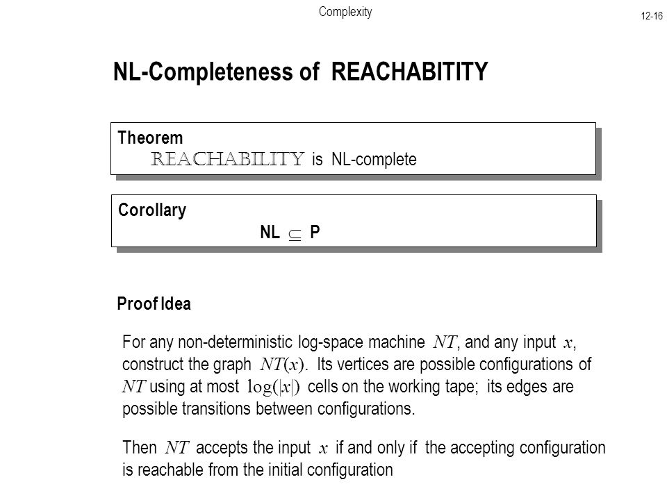 Complexity NL-Completeness of REACHABITITY Theorem Reachability is NL-complete Theorem Reachability is NL-complete Proof Idea For any non-deterministic log-space machine NT, and any input x, construct the graph NT(x).