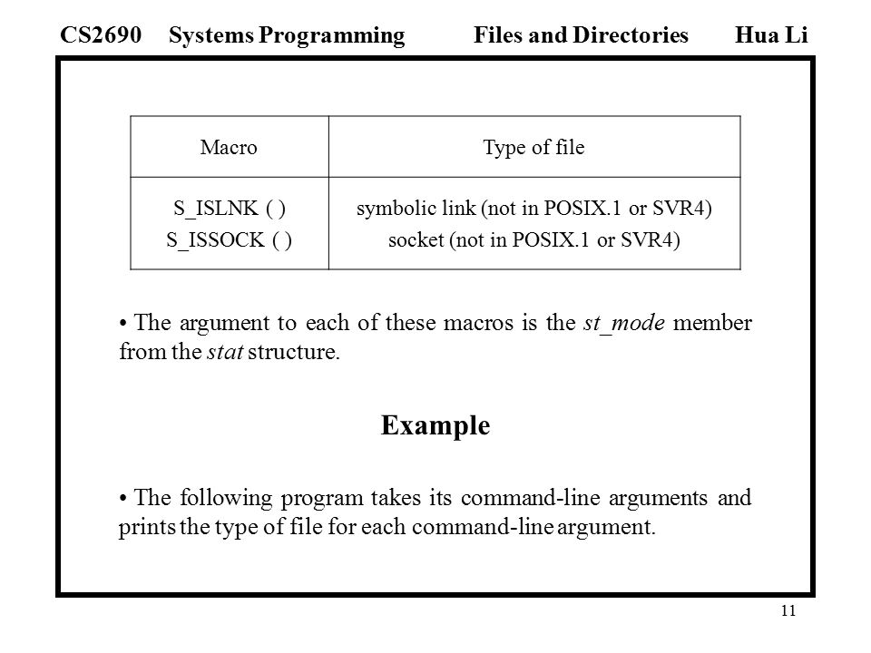 1 Files And Directories Hua Lisystems Programmingcs2690files And