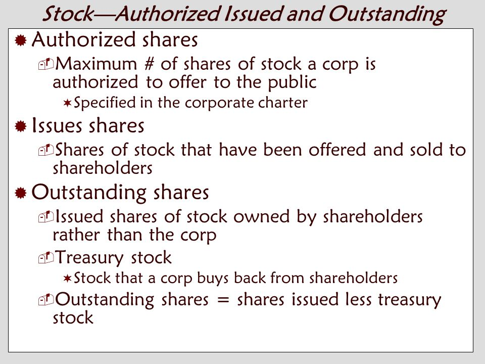 10-2 Stock—Authorized Issued and Outstanding  Authorized shares  Maximum # of shares of stock a corp is authorized to offer to the public  Specified in the corporate charter  Issues shares  Shares of stock that have been offered and sold to shareholders  Outstanding shares  Issued shares of stock owned by shareholders rather than the corp  Treasury stock  Stock that a corp buys back from shareholders  Outstanding shares = shares issued less treasury stock