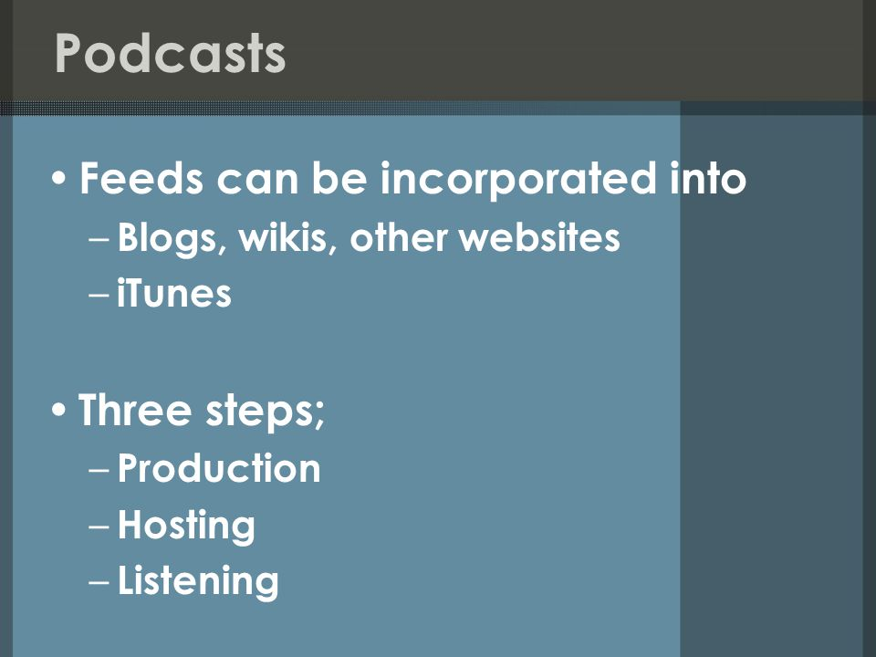Podcasts Feeds can be incorporated into – Blogs, wikis, other websites – iTunes Three steps; – Production – Hosting – Listening