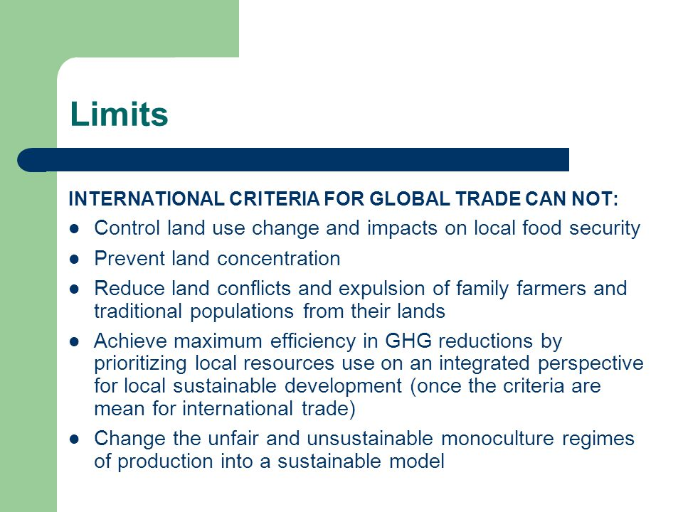 Limits INTERNATIONAL CRITERIA FOR GLOBAL TRADE CAN NOT: Control land use change and impacts on local food security Prevent land concentration Reduce land conflicts and expulsion of family farmers and traditional populations from their lands Achieve maximum efficiency in GHG reductions by prioritizing local resources use on an integrated perspective for local sustainable development (once the criteria are mean for international trade) Change the unfair and unsustainable monoculture regimes of production into a sustainable model
