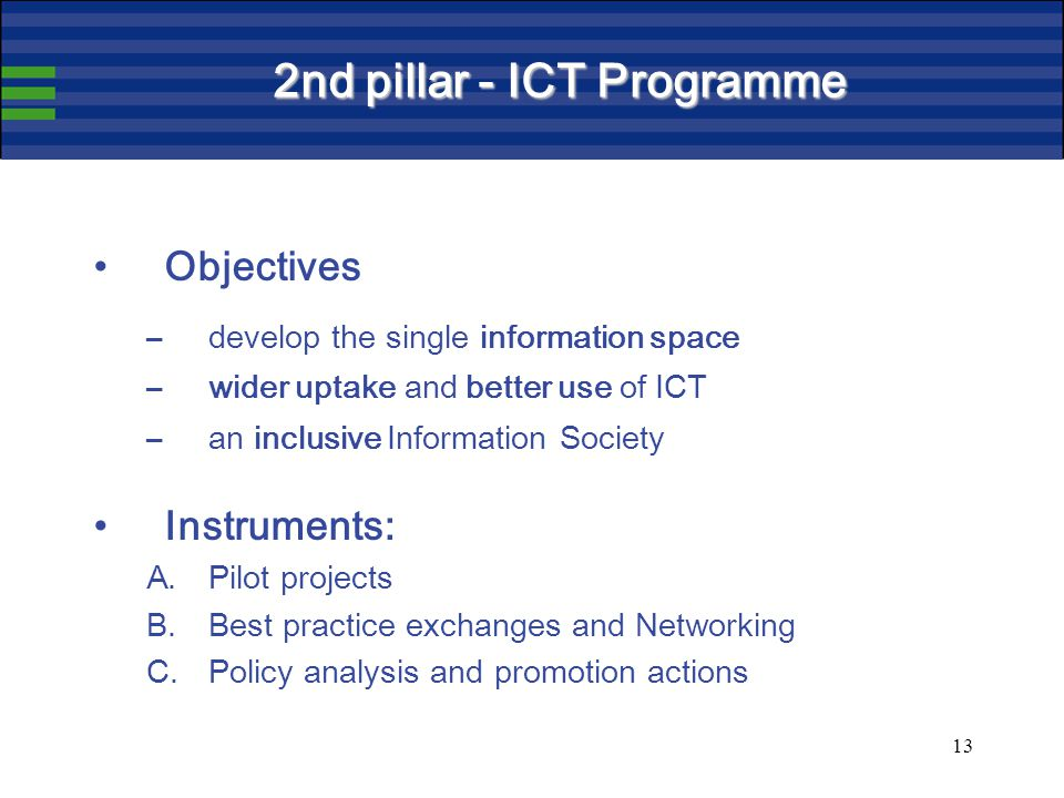 13 2nd pillar - ICT Programme Objectives –develop the single information space –wider uptake and better use of ICT –an inclusive Information Society Instruments: A.Pilot projects B.Best practice exchanges and Networking C.Policy analysis and promotion actions