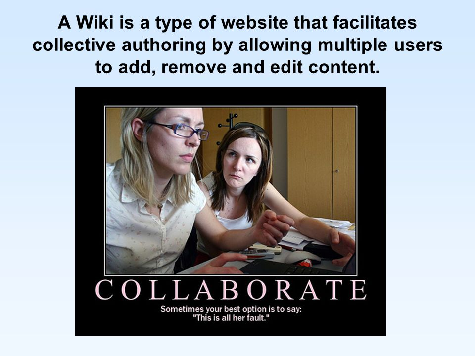 A Wiki is a type of website that facilitates collective authoring by allowing multiple users to add, remove and edit content.