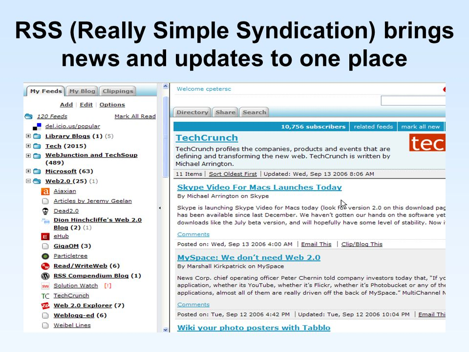 RSS (Really Simple Syndication) brings news and updates to one place