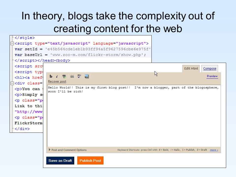 In theory, blogs take the complexity out of creating content for the web