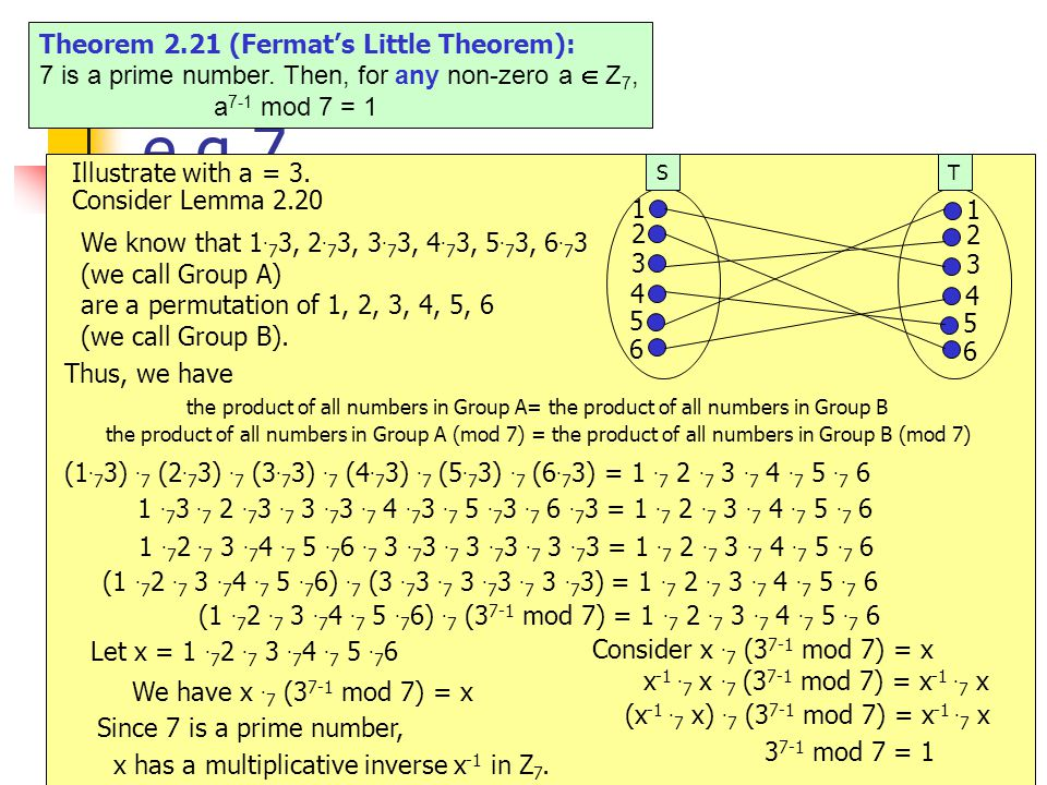 14 e.g.7 Theorem 2.21 (Fermat's Little Theorem): 7 is a prime number.