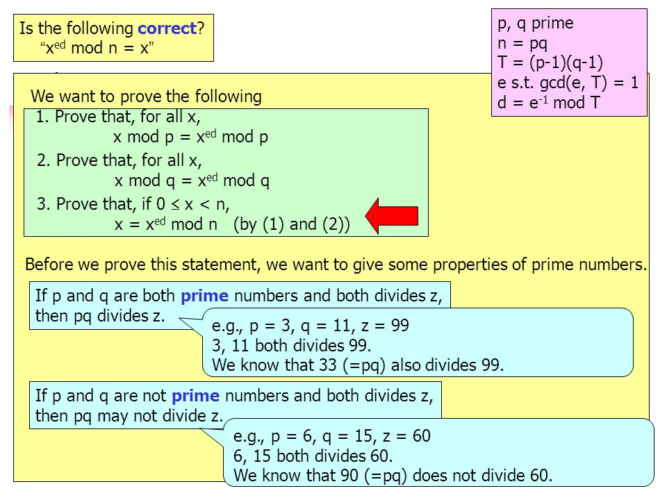 27 e.g.12 Is the following correct. x ed mod n = x p, q prime n = pq T = (p-1)(q-1) e s.t.