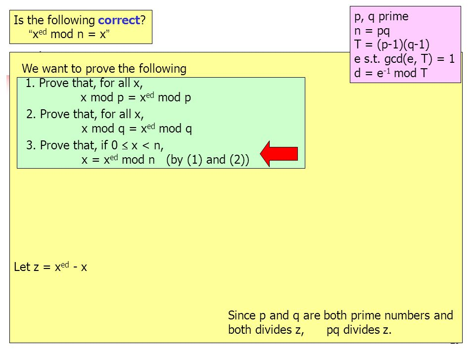 29 e.g.12 Is the following correct. x ed mod n = x p, q prime n = pq T = (p-1)(q-1) e s.t.