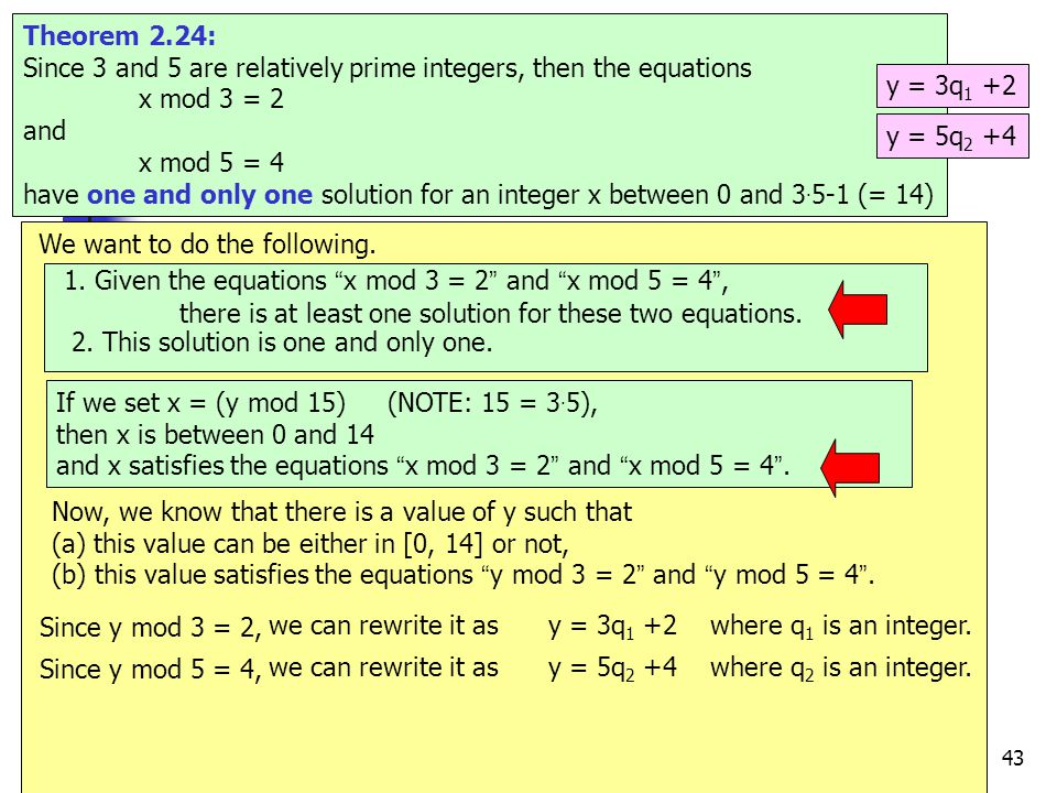 43 e.g.17 Theorem 2.24: Since 3 and 5 are relatively prime integers, then the equations x mod 3 = 2 and x mod 5 = 4 have one and only one solution for an integer x between 0 and 3.