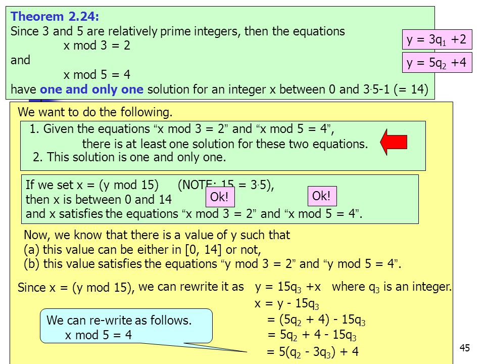 45 e.g.17 Theorem 2.24: Since 3 and 5 are relatively prime integers, then the equations x mod 3 = 2 and x mod 5 = 4 have one and only one solution for an integer x between 0 and 3.