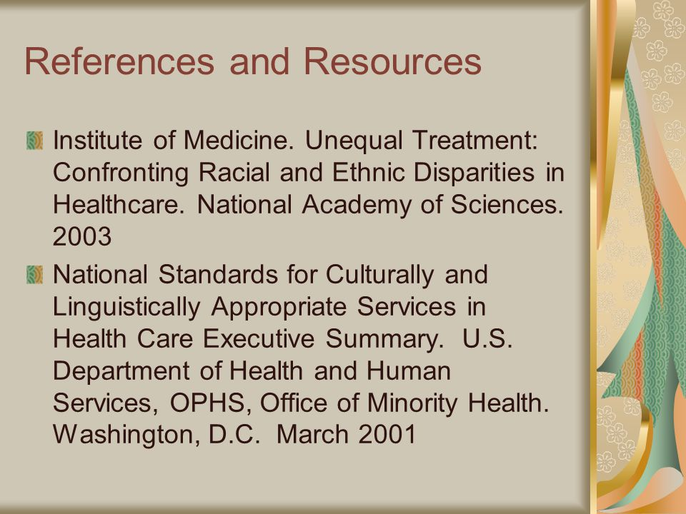 References and Resources Institute of Medicine.