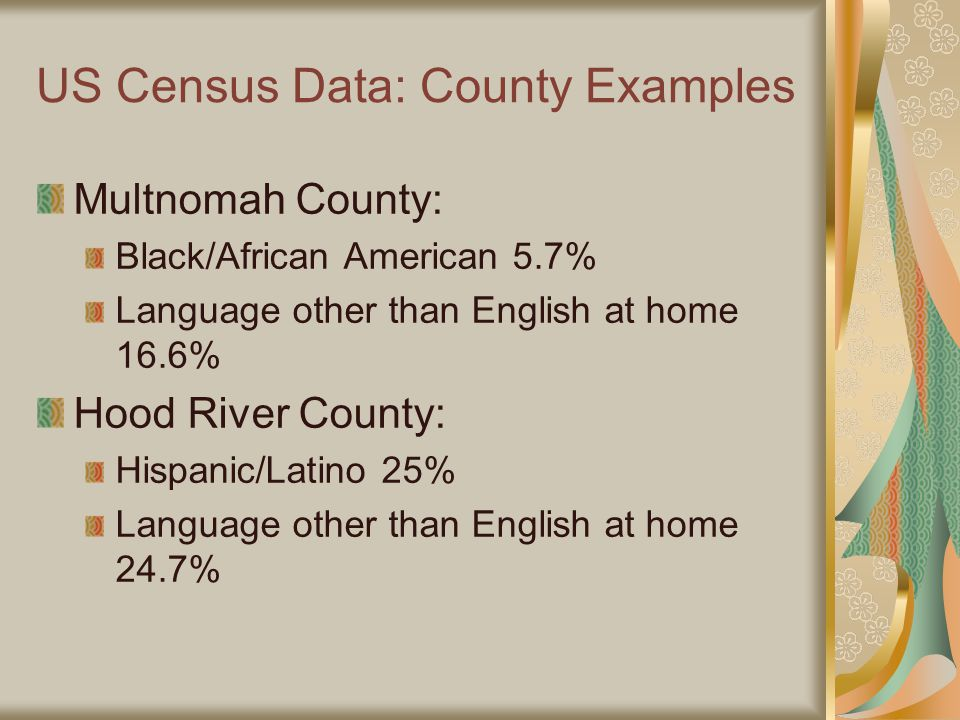 US Census Data: County Examples Multnomah County: Black/African American 5.7% Language other than English at home 16.6% Hood River County: Hispanic/Latino 25% Language other than English at home 24.7%