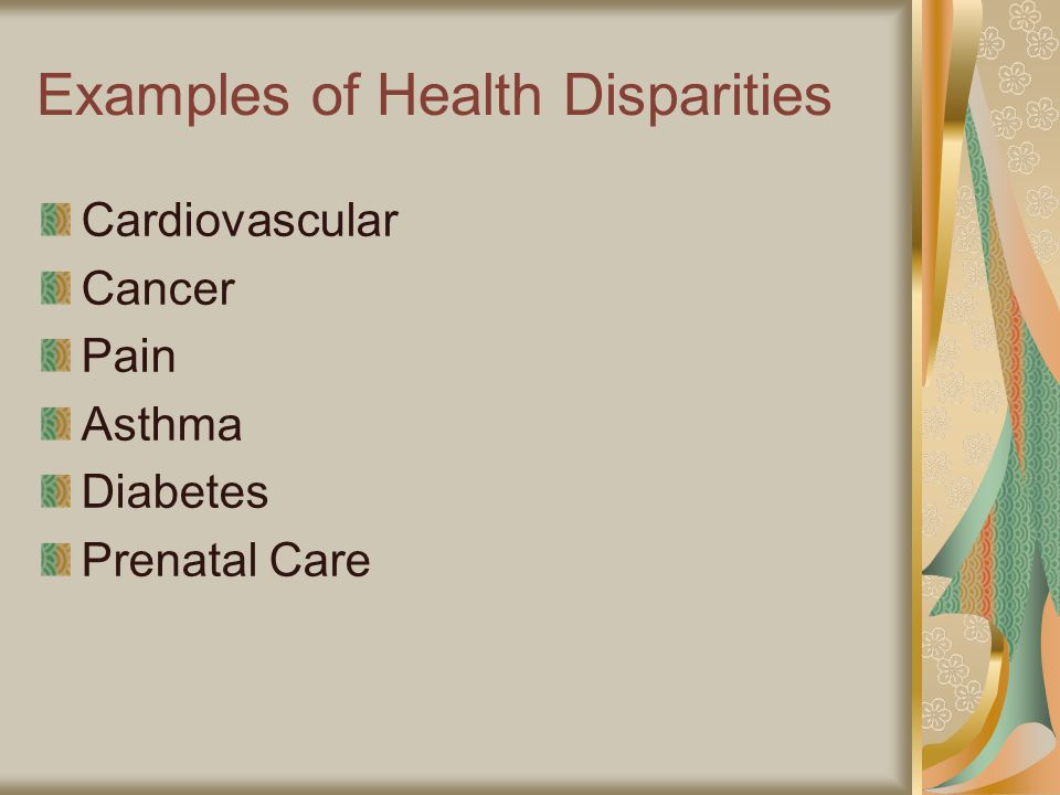Examples of Health Disparities Cardiovascular Cancer Pain Asthma Diabetes Prenatal Care