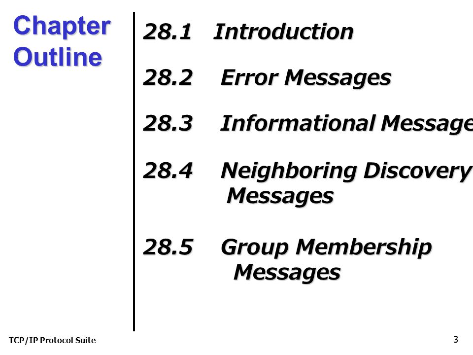 TCP/IP Protocol Suite 3 Chapter Outline 28.1 Introduction 28.2 Error Messages 28.3 Informational Messages 28.4 Neighboring Discovery Messages Messages 28.5 Group Membership Messages