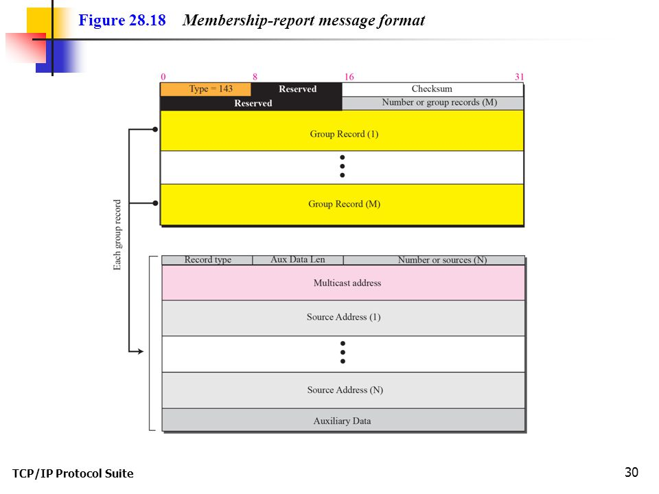 TCP/IP Protocol Suite 30 Figure 28.18 Membership-report message format