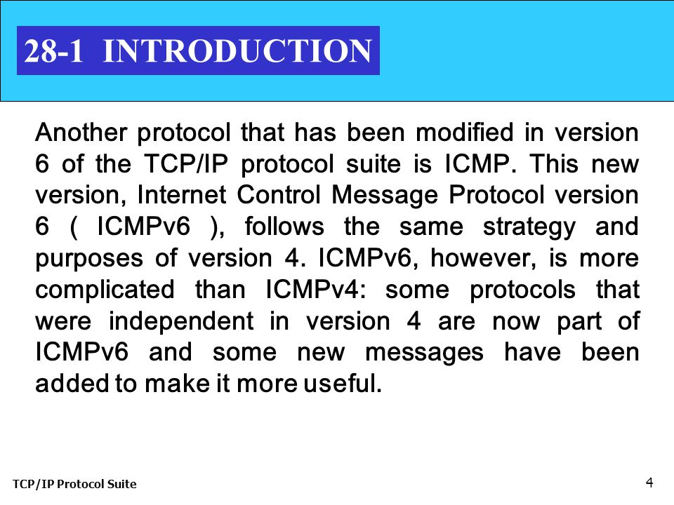 TCP/IP Protocol Suite 4 28-1 INTRODUCTION Another protocol that has been modified in version 6 of the TCP/IP protocol suite is ICMP.