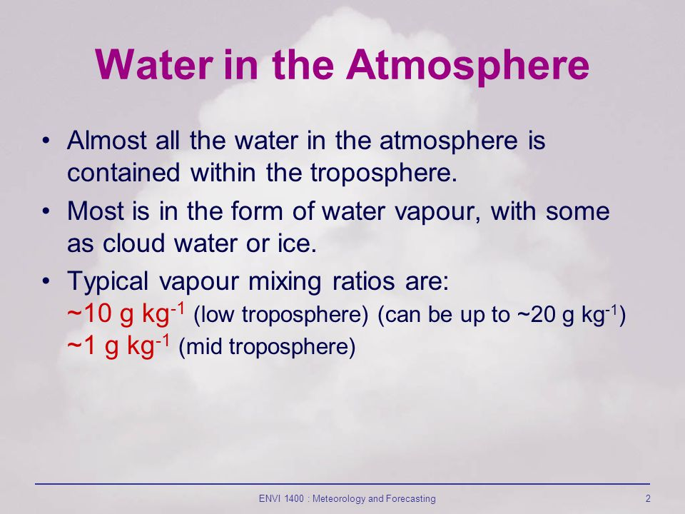 ENVI 1400 : Meteorology and Forecasting2 Water in the Atmosphere Almost all the water in the atmosphere is contained within the troposphere.