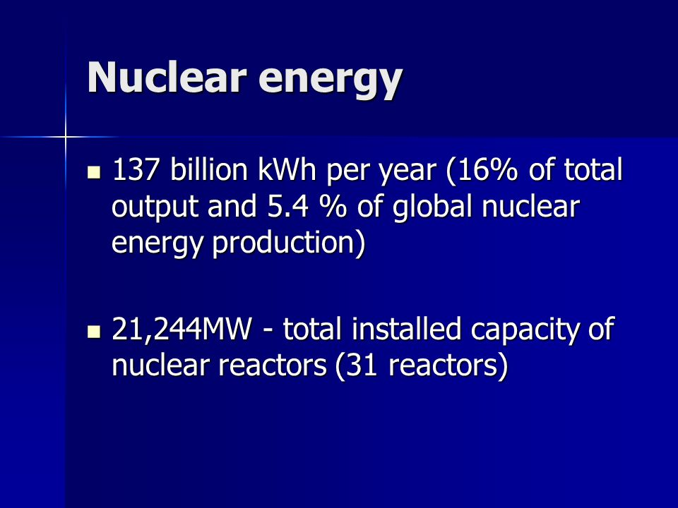 Nuclear energy 137 billion kWh per year (16% of total output and 5.4 % of global nuclear energy production) 137 billion kWh per year (16% of total output and 5.4 % of global nuclear energy production) 21,244MW - total installed capacity of nuclear reactors (31 reactors) 21,244MW - total installed capacity of nuclear reactors (31 reactors)