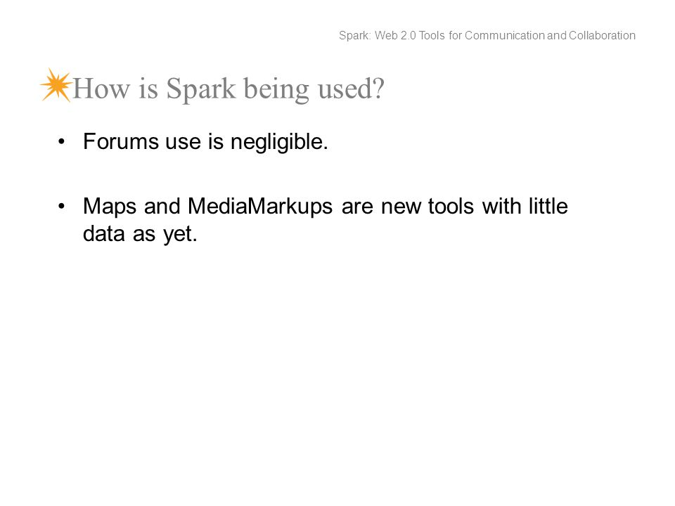How is Spark being used. Forums use is negligible.
