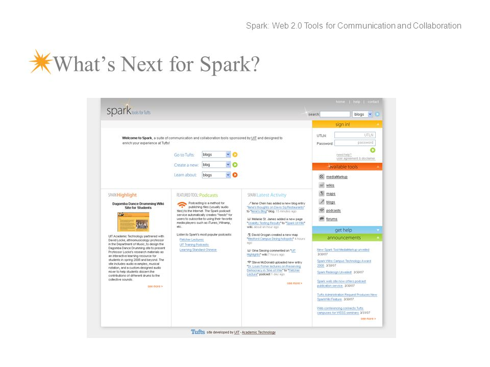 What's Next for Spark Spark: Web 2.0 Tools for Communication and Collaboration