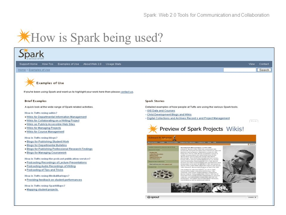 How is Spark being used Spark: Web 2.0 Tools for Communication and Collaboration