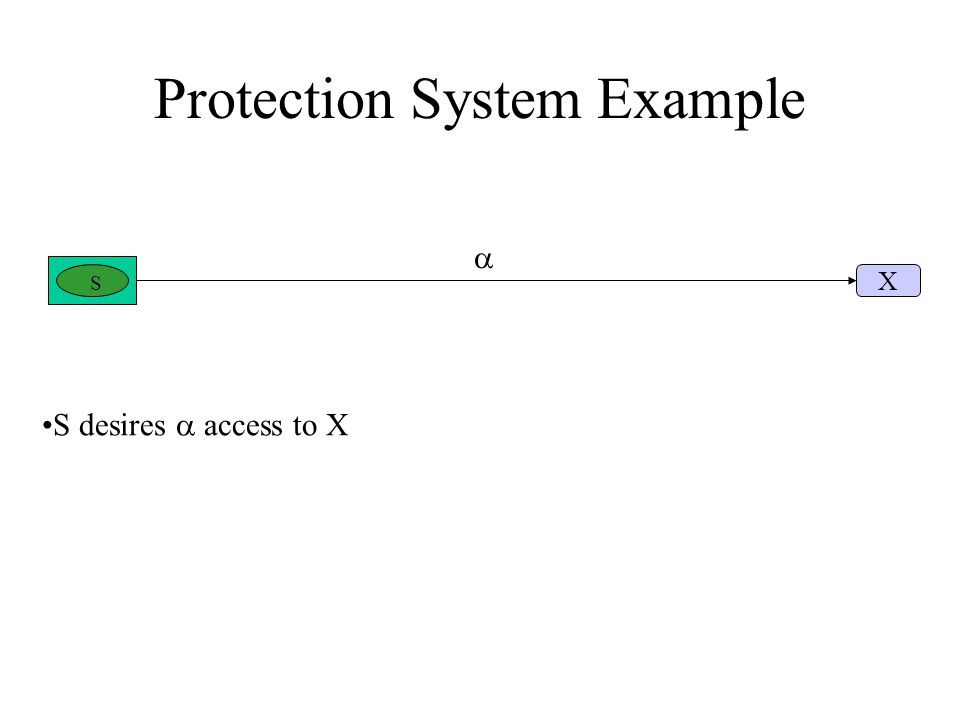 Protection System Example S X S desires  access to X 